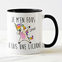 kdosublim Mug Noir Je m'en Fous Je suis Une Licorne Dab