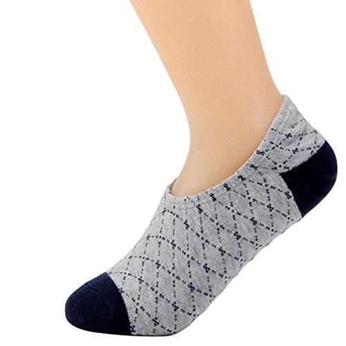 Haodasi 3 Paare Plaid Flacher Mund Unsichtbar Anti-Rutsch Knöchel Socken