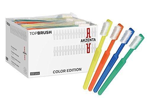 100 TOP BRUSH Einmalzahnbürsten mit Zahnpasta 4 Farben gemischt Markenware Akzenta