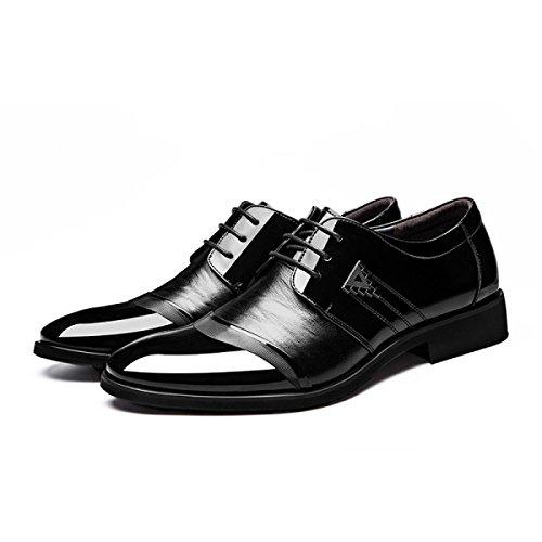 GRRONG Chaussures En Cuir Pour Hommes D'affaires Pointu Tenue Noire Black