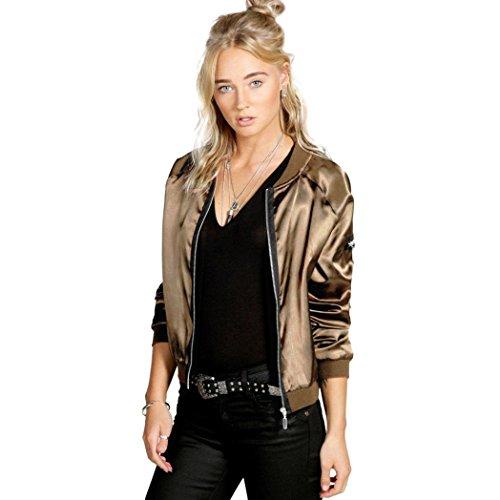 Sannysis Frauen Weinlese Bling Reißverschluss Blazer Jacken Mantel Outwear (S, Gold)