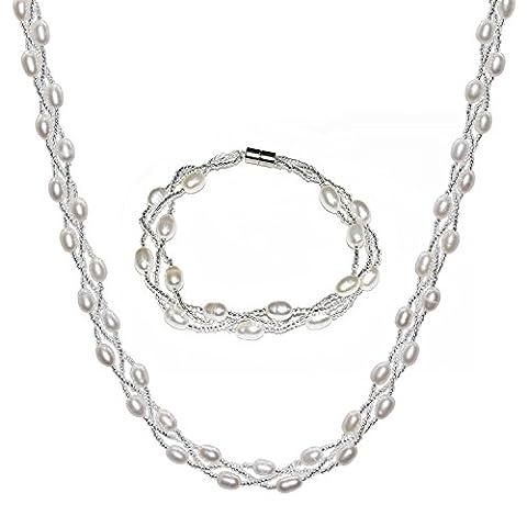 JFUME Twisted Cultured Perlen Halskette & Armband mit Magnetic Clasp Damen Schmuck Set Weiß