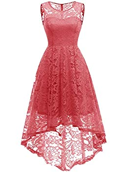 d6f5bbe899db MUADRESS Women s Vintage Floral Lace Sleeveless Hi-Lo Cocktail Formal Swing  Dress