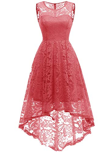 MUADRESS MUA6006 Elegant Kleid aus Spitzen Damen Ärmellos Unregelmässig Cocktailkleider Party Ballkleid Koralle S