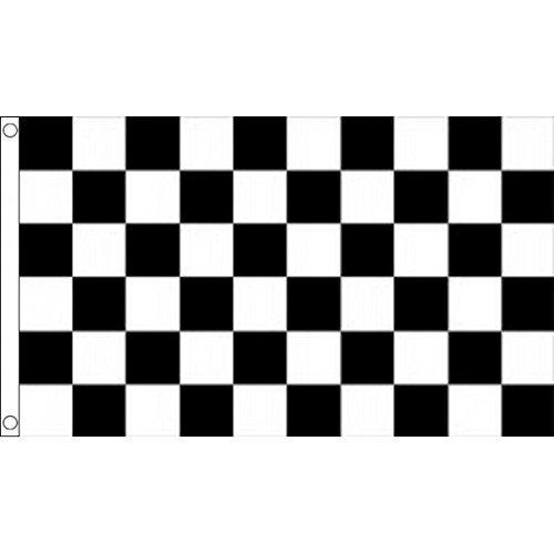 60cm) Motor Racing schwarz & weiß kariert kariert Race Winner Session beendet 100% Polyester Material Flagge Banner (Schwarz Und Weiß-race Flag)