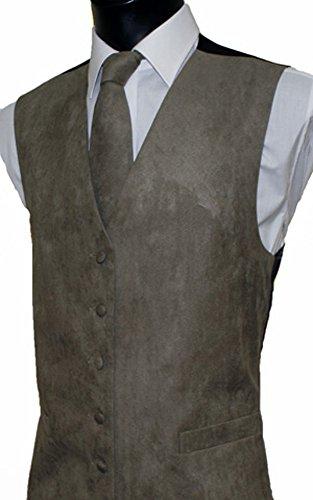 Herren Weste Wildleder-Optik, 10 Farben erhältlich, farblich passende Krawatte erhältlich Beige - Taupe