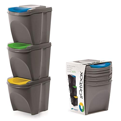 Set of 3 x 20 Litre Large Stackable Recycling Sorting Colour Coded Plastic Bins with Hinged Lids (Grey)