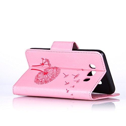 Custodia Samsung Galaxy J7 2016, ISAKEN Samsung Galaxy J7 Cover con Strap, Elegante borsa Dente di leone Design in Pelle Sintetica Ecopelle PU Case Cover Protettiva Flip Portafoglio Case Cover Protezi Dente di leone : rosa
