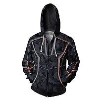 Carswill Unisex Cotton Zip Superhero Hoodie Cosplay Costume Hooded Jacket XXL