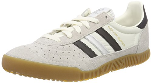adidas Indoor Super, Scarpe da Ginnastica Basse Uomo, Bianco (Vintage White/Core Black/Matte Silver 0), 41 1/3 EU
