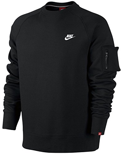 nike-brushed-crew-club-sweatshirt-fleece-pullover-sport-freizeit-schwarz-s-xl-grosselfarbeschwarz