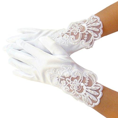 Blumenmädchen Kinder Satin Handgelenk Handschuhe Brautjungfer Festzug Abschlussball (2-5 Jahre, Weiß #2)