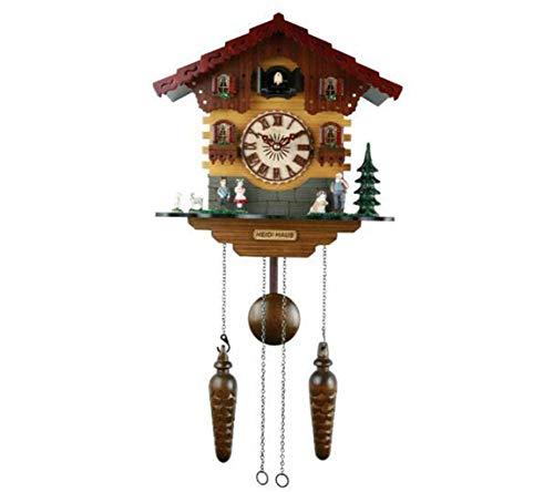 JSHFD Handgeschnitzte Kuckucksuhr Helle Kuckucksvogelgeräusche zu jeder vollen Stunde und mit Glockenspiel, automatische Abschaltung Ausgezeichnetes Geschenk (Liedes Auf Flügeln Den Eines)