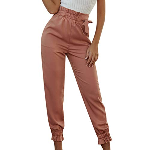 WOZOW Damen Pencil Stoffhose Solid Ruffle Riemchen Elastisch Chino Hose Military Jogger Mode High Waist Lang Long Ankle Cargo Stoffhose (XL,Rosa) - Cord Boot Cut Hose