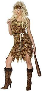 Smiffys Disfraz de Mujer cavernícola, marrón, velvetón, con Vestido, Cinta para la Cabeza y cinturón