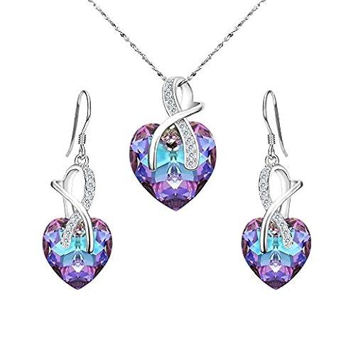 Clearine Damen 925 Sterling Silber Hochzeit CZ Unendlichkeit Herz von der See Kristall von Swarovski Kette Ohrringe Schmuck Set Amethystfarben