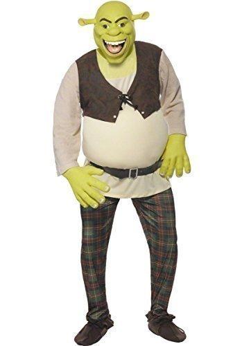 Fancy Me Herren Offiziell DreamWorks Deluxe Shrek Ungeheuer büchertag Halloween Kostüm Kleid Outfit - Grün, Medium (38-40