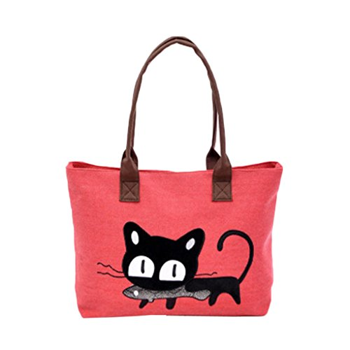 sac-a-main-feitong-mode-feminine-bandouliere-sac-de-toile-chat-mignon-sac-lunch-bag-rouge