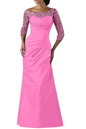 Ivydressing Vestito elegante da donna, maniche a 3/4, con pailettes, in taffeta e tulle, abito lungo da sera, da ballo Rosa