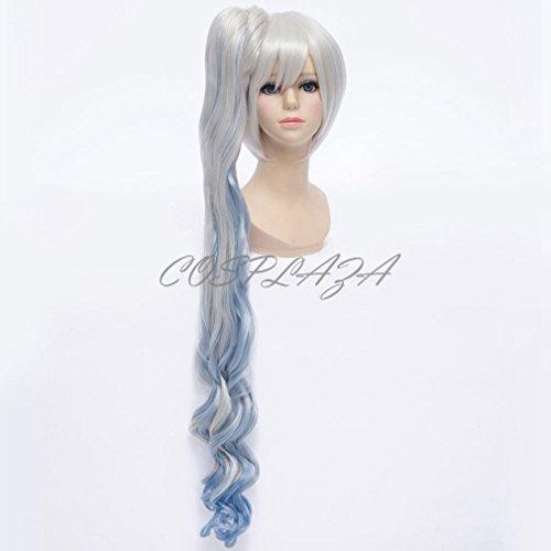 COSPLAZA Perücke Cosplay Wigs 90cm lang Silber Weiß Weiss Schnee White RWBY Anime Show Party (Perücken Schnee Weißen)