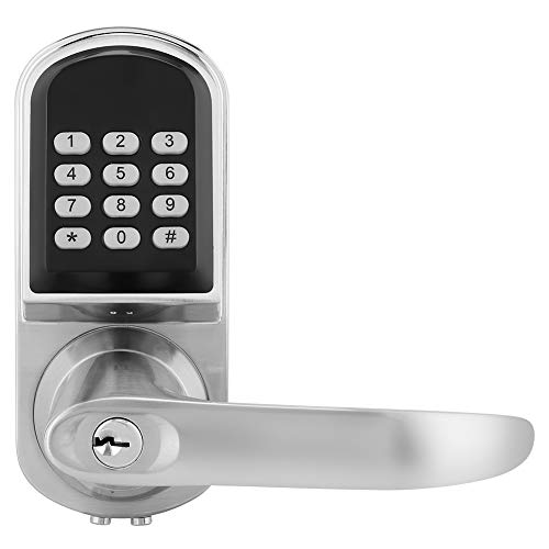 MF - Cerradura de puerta digital con contraseña, llave mecánica RFID, tarjeta inteligente, cerradura antirrobo con teclado iluminado, mango conmutable