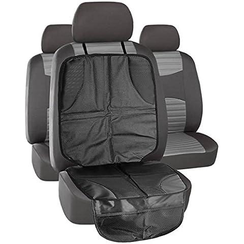MTURE Protector de asiento de dos etapas Mega Mat para coche Protector de respaldo para asiento, con compartimentos para guardar cosas , universal, antideslizante Negro