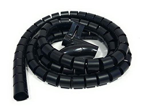 Bambelaa! Kabelschlauch 1,5m Kabelkanal kürzbar Kunststoff flexible Kabelorganisation 20mm Durchmesser (Schwarz, 1,5m) -