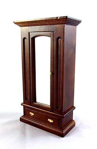 Puppenhaus Miniatur Holz 1:12 Schlafzimmer Möbel Kleiderschrank Mit Spiegel Walnuss
