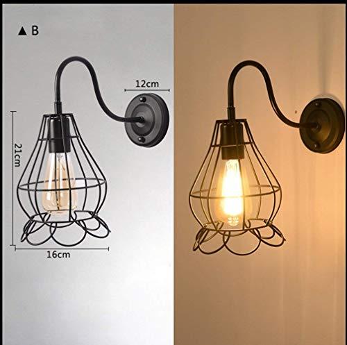 E27 Wandleuchte American Vintage Loft Industrial Iron Cage Light, b ()
