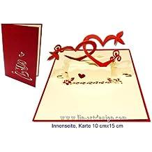 LIN POP UP 3D Karte Hochzeitskarten Liebe Verliebt Valentinskarten Herzpaar (Nr.75)