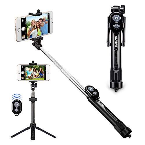 Alfort Bastone Selfie, Selfie Stick Bluetooth Estensibile con Telecomando per iPhone 8/7 / Samsung A7 / S7 / Huawei P10 / P9 / Sony XZ/Xiaomi e Altri iOS/Android Sistemi (Nero Entro 5.5'')
