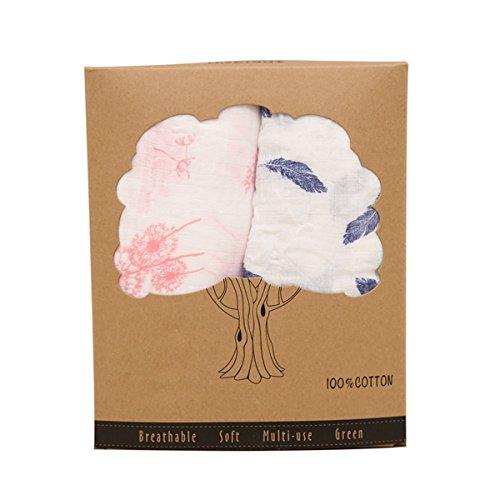 BabyIn Empfangen Decken, 2 Pack Zertifizierte 100% Baumwolle Organische Muslin Swaddle Weiche 2-lagige Swaddles Baby-Dusche oder Great Nursery Geschenk (3-lagig) (Bio-burp Tücher)