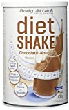 Body Attack Diet Shake, Chocolate-Nougat, 1er Pack (1 x 430 g)