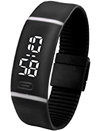Tongshi Para mujer para hombre de goma Reloj LED Fecha Deportes pulsera reloj de pulsera digital (Negro)