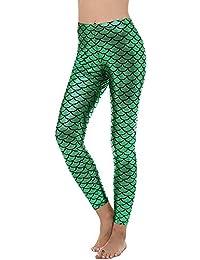 0ad7c0c031d302 GLOUPER Damen Leggings Mermaid Meerjungfrau Glanz Leggings Fisch Schuppen  Scale Glänzend Strumpfhose Hüfthose Hose Skinny Pants…