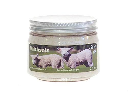 Preisvergleich Produktbild AINA Milchsalz 200 ml Badezusatz oder Peeling für die Hände - mit Aloe Vera und Schafmilch - mit Meersalz verfeinert