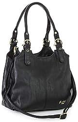 Mabel London Amelia Damen-Handtasche mit mehreren Fächern, mittlere Größe, mehrere Fächer mit langem Schultergurt Gr. One size, Schwarz