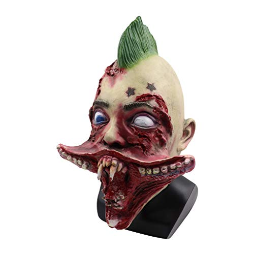 Prevently Halloween Creepy Scary Bleeding Helm Horror Cosplay Kostüm Maske Requisiten Zombie Teufel Zähne Leiche Alter Mann Kopfbedeckung Maske (Kostüm Kopfbedeckung Zähne)