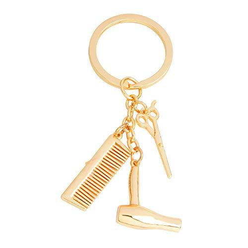 GANGXIA SchlüsselanhängerMode-Haar bearbeitet Kamm-Haar-Trockner-Legierung Keychain Charme-Herrenfriseur-Wäsche-u. Schlag-Geschenke,2