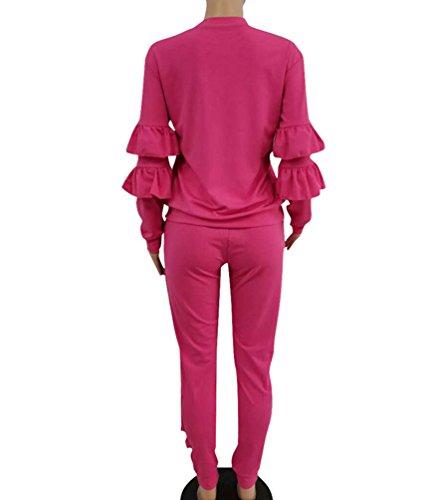 Anguang Donna Casual Set Volant Girocollo Top Maglietta Maniche Lunghe Pantaloni Slim Fit Con Coulisse Rose