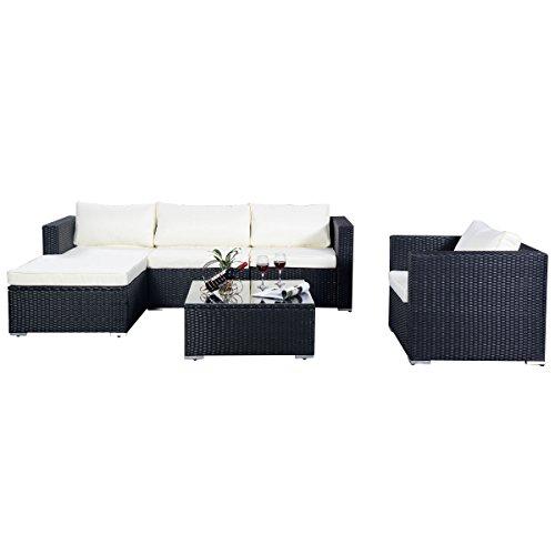 Poly Ratten Gartenmöbel 15tlg Sofa Rattanmöbel Polyrattan Lounge Set Sitzgruppe Gartengarnitur Sofa Rattenmöbel (Schwarz)