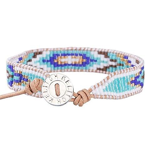 KELITCH Bohême Bleu Diamant Motif Perles de Rocaille Fait Main Tressé Bracelet