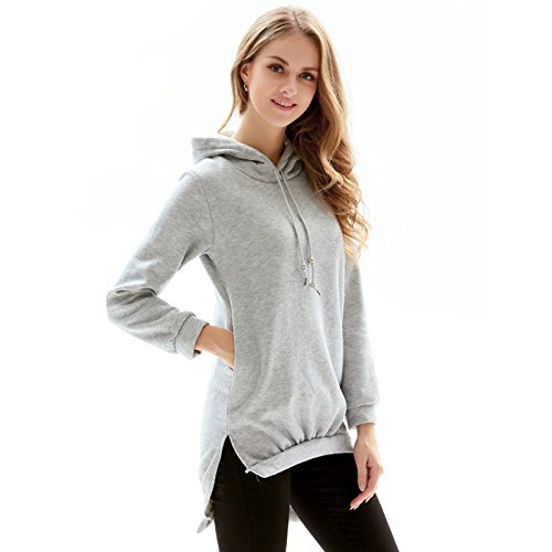 Winfon Sweat Femme Capuche Pullover Veste Hoodie Pull Automne Casual Coton Tops Sweat-Shirt Gris