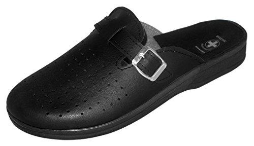 Aveente Chaussons mules en cuir pour homme avec semelle en PU Couleurs variées. - 10 UK / 44 EU - noir