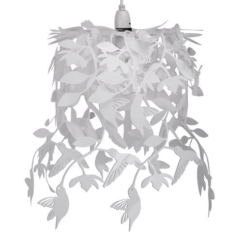 Abat-Jour Abat Jour Lustre Suspension, Oisseau, COLIBRI, hummingbird, Blanc, Cascade, Pour Douille de 28mm ou 42mm