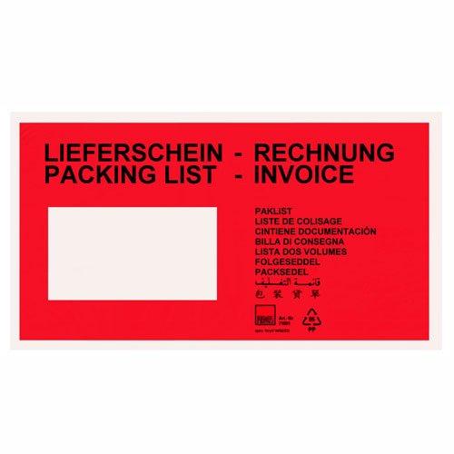 """'Tasche Porta Documenti Buste bolla di consegna DIN lungo """"bolla di consegna Rosso quantità selezione 8000 Stück Rot"""