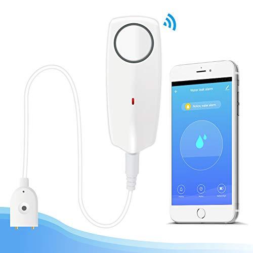 Wassermelder WLAN Wasser-Alarm Wasserwächter, EACHEN WiFi Wassersensor mit Wiederaufladbare Batterie mit 60dB Lautstärke für Waschmaschine, Bad Und Keller, mit TUYA/Smart Life APP für Home Security
