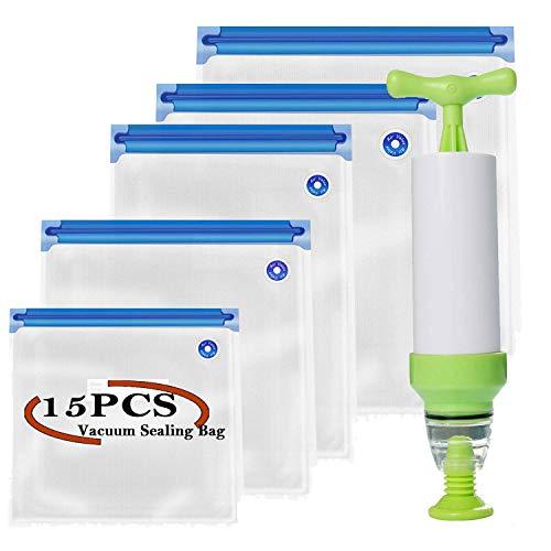 Sous Vide Beutel-Set, V·RESOURCING 15 wiederverwendbare Vakuumbeutel, Vakuumbeutel (5 Größen) mit Hand Mini-Vakuumierer, Ideal zum Einfrieren, Sous-Vide-Kochen, zur Lebensmittelkonservierung