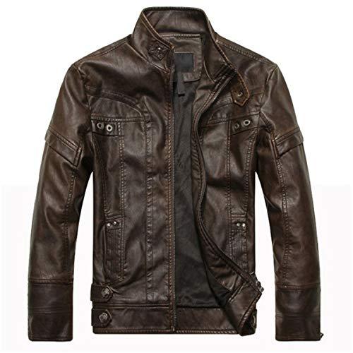 Mode Herren Lederjacken Hohe Qualität Motorrad PU Jacke Lässige Leder Mäntel Männer Cowboy Kleidung Plus Größe (Farbe : Brown, größe : M) (Plus Lederjacke Men Größe)