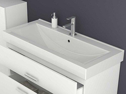 Waschtischunterschrank 100 / 80 / 60 cm breit Hochglanz Weiß Waschbeckenunterschrank Unterschrank Badmöbel-Set hängend Sieper Girona (100 breite) - 3